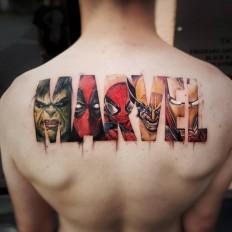 Marvel Logo motive done by Italian tattoo and bodyart skully artist Daniele Maiorano on Inspirationde
