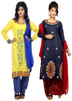 1 Stop Fashion Women's Unstitched Salwar Suit - Set Of 2 - HomeShop18.com