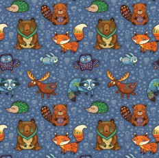 Forest animals pattern on
