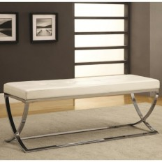 Coaster Benches Man-Made Leather Bench w/ Silver Metal Base - Coaster Fine Furniture