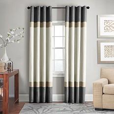 Veratex Brooklyn Colorblock Linen Grommet Window Curtain Panel - Bed Bath & Beyond