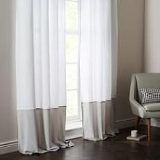 Belgian Flax Linen Velvet Colorblock Curtain - White/Frost | west elm