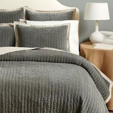 Lucca Velvet Stitched Quilted Bedding | Ballard Designs