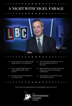 Hippodrome Casino — A NIGHT WITH NIGEL FARAGE