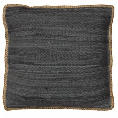LR Resources Riley Dark Gray 20 in. x 20 in. Chindi/Jute Decorative Pillow-PILLO07281DGYFFPL - The Home Depot