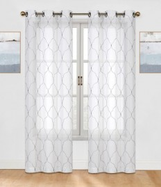 Brooking Embroidered Geometric Semi-Sheer Grommet Curtain Panels & Reviews | AllModern