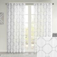 Cartier Geometric Semi-Sheer Tab Top Single Curtain Panel & Reviews | AllModern