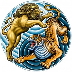 Lion and Tiger Yin Yang symbol by Curtis Illustration on Inspirationde