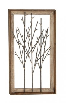 Black Bamboo Metal Branches Framed Wall Plaque | Kirklands