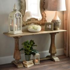 Distressed Natural Pedestal Console Table | Kirklands
