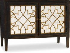 Hooker Furniture Living Room Sanctuary Two Door Mirrored Console- Ebony 3005-85006