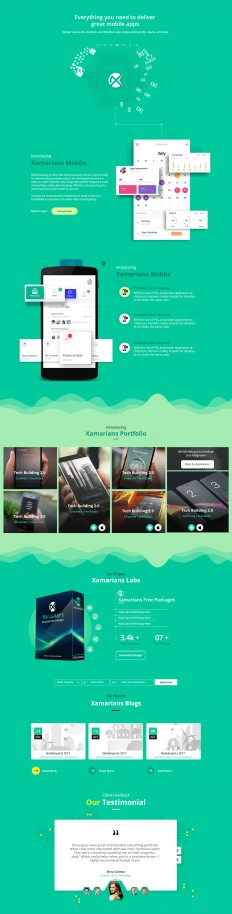 Xamarians Landing Page on