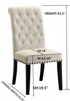 Parkins Cream Fabric Side Chair Set of 2