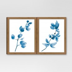 """Framed Watercolor Branch Blue 2-Pack 11""""x14"""" - Threshold? : Target"""