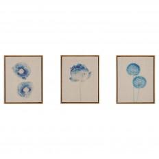 Botanicals Framed 3 Piece Printed Canvas On Linen - Blue : Target