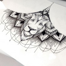 Lion Sternum Tattoo on Inspirationde