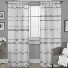 Ivy Bronx Dibella Striped Sheer Rod Pocket Curtain Panels & Reviews | Wayfair