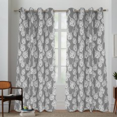 Bay Isle Home Kennebunkport Cotton Canvas Nature/Floral Semi-Sheer Grommet Curtain Panel & Reviews | Wayfair