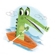 Gator on a boat on