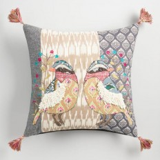 Multicolor Embroidered Patchwork Bird Throw Pillow | World Market