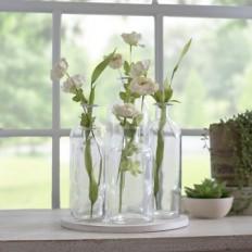 Wood Slice With 5 Vases Display Set | Kirklands
