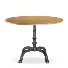 La Coupole Round Iron Bistro Table with Wood Top   Williams Sonoma