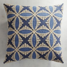 Embroidered Denim Tile Pillow | Pier 1 Imports