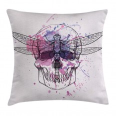 East Urban Home Skull Dragonfly Grunge Square Pillow Cover & Reviews | Wayfair