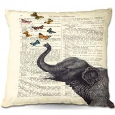 East Urban Home Elephant Butterflies Throw Pillow & Reviews | Wayfair