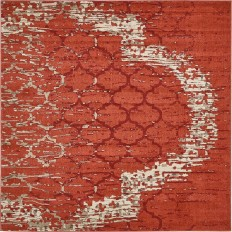 Unique Loom Trellis Terracotta 8 ft. x 8 ft. Square Area Rug-3134393 - The Home Depot