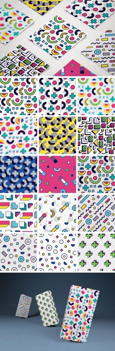 8-bit Memphis Patterns Pack — download free patterns by Pixelbuddha