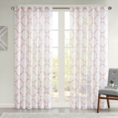 Urban Habitat Embroidered Sheer Rod Pocket/Back Tabs Window Curtain Panel - Bed Bath & Beyond