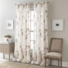 Zen Floral Rod Pocket Semi-Sheer Window Curtain Panel - Bed Bath & Beyond