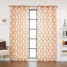 Decorinnovation Reverse Moroccan Linen Blend Grommet Top Window Curtain Panel Pair - Bed Bath & Beyond