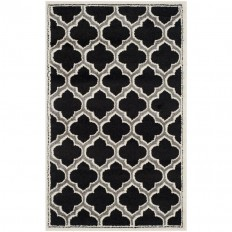 Shop Safavieh Moroccan Anthracite/Ivory Indoor/Outdoor Throw Rug (Common: 3 x 5; Actual: 3-ft W x 5-ft L) at Lowes.com