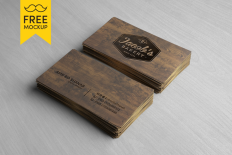 Free Wooden Business Card Mockup PSD - Free UI UX