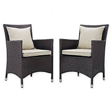 Modway Convene 2-Piece Outdoor Patio Dining Set in Espresso/Beige - Bed Bath & Beyond