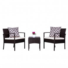Vifah Cyrus 3-Piece Wicker Patio Conversation Set with Cushion-V1813 - The Home Depot