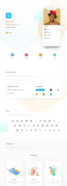 Monster – Chat App UI KIT for Sketch on Inspirationde