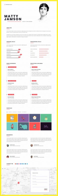 FLATR - Vcard, CV, Resume & Portfolio on Inspirationde