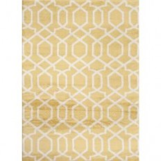 "World Rug Gallery Contemporary Trellis Design Yellow 8 ft. x 10 ft. Indoor Area Rug-304 Yellow 7'10""X10'2"" - The Home Depot"