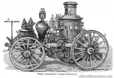 Amoskeag Steam-Powered Fire Engine – Old Book Illustrations
