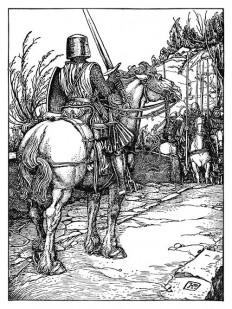 Motionless, Steel-Clad Figure – Old Book Illustrations