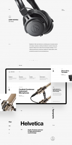 Minimalist Web Design Project for Audio-Technica.
