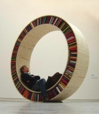 Art & Design / Circular bookshelf perfect for storing philosophy texts