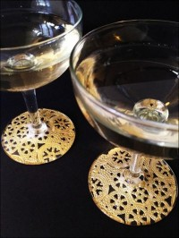 Wedding Ideas / Materials: Glass Stemware, Gold Paper Doilies, Matte Sealer Glue (like Mod Podge), Sponge Brush, Pen, Scissors