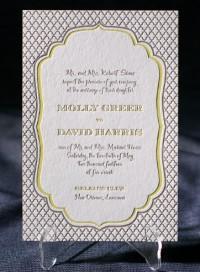 Dawson wedding invitations | Smock | vintage, rustic, eco-friendly, chartreuse, taupe, sleeve