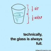 Half air, half water. Technically, the glass is always full. | Daily Positive Quotes