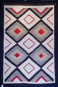 5 - 1900 to 1940 - Navajo Rugs - 3x5 to 5x7  - 'Navajo Rug; Eye Dazzler' - Len Wood's Indian Territory