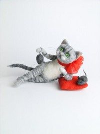 Felt Animals Philosopher Cat Needle Felted Miniature by felttess